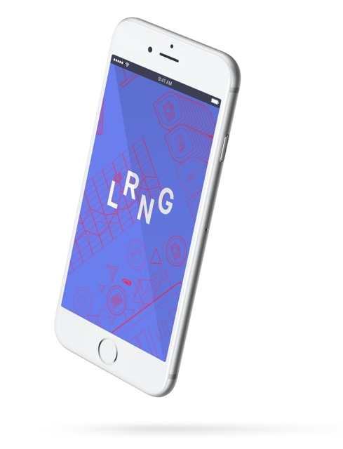 An iPhone with the LRNG logo on the display